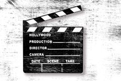 Grunge Movie Clapper Board. Grunge Old Used Movie Clapper Board on White Stock Photos