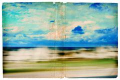Grunge moving sea-scape. Illustration of sea scene out of a window of the car Royalty Free Stock Images