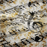 Grunge music. Musical background in grunge style Stock Photos
