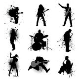 Grunge music. Grunge style musician silhouette vector Stock Photo