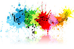 Grunge music. Music notes on a colourful grunge background Royalty Free Stock Photos