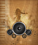 Grunge Music. Abstract Illustration of electronical Music with boxes Stock Photography