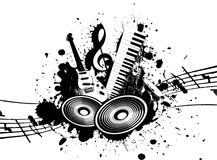 Grunge Music. Cool wacky grunge Music background with music details Stock Image