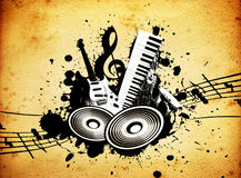 Grunge Music. Cool wacky grunge Music background with music details Stock Photography
