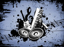 Grunge Music. Cool wacky grunge Music background with music details Stock Photo