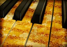 Grunge music. Detail of a music keyboard with notes grunge background Stock Photos