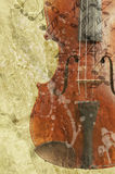 Grunge music background. With old fiddle - violin clef stock illustration
