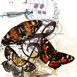 Grunge music background with butterflies and notes Stock Photos