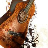 Grunge music background with classic guitar and notes Royalty Free Stock Images