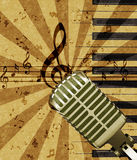 Grunge music background with microphone Stock Image