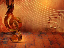 Grunge music background with music notes on stave Royalty Free Stock Photography