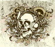 Grunge music background with skull Stock Images