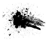 Grunge music note. Ink splat overlayed by music note in black and white Royalty Free Stock Photo