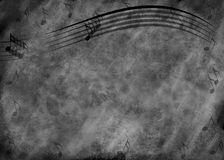 Grunge Music Note Background. Blue and black grunge type background with wavy music staff lines and several notes Stock Image