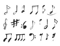 Grunge Music notes Background for Jazz Cover, Symphony Motif. Abstract symbols set.  vector illustration