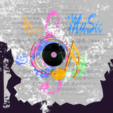 Grunge   music  notes  design for music background Royalty Free Stock Photo