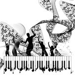 Grunge music piano background Royalty Free Stock Photography