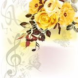 Grunge music romantic background with notes and roses Royalty Free Stock Photo