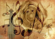 Grunge music rose background. Abstract grunge rose and notes, vintage music background Royalty Free Stock Photo