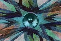 Grunge music speaker explosion Royalty Free Stock Photos