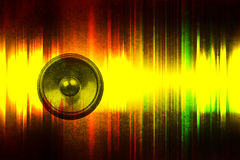 Grunge music speaker with sound waves Stock Photo