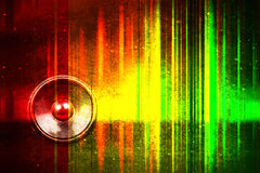 Grunge music speaker with soundwaves Stock Images