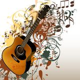Grunge music vector background with guitar and notes Stock Images