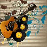 Grunge music vector background with guitar  and notes on wooden Stock Images