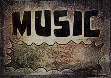 grunge music word old wall Royalty Free Stock Images