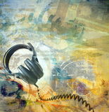Grunge musical background. Grunge musical abstract background, headphones royalty free illustration