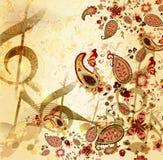 Grunge musikalisk tappningbakgrund med blom- Arkivfoton