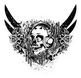 Grunge Musikemblem Stockfoto