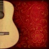 Grunge muzyczny tło z gitarą i kwiecistym ornamentem Obraz Royalty Free