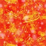 Grunge naadloos patroon met sneeuwvlokken Royalty-vrije Stock Afbeeldingen