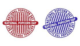 Grunge NATIONAL POPCORN DAY Textured Round Stamps royalty free illustration