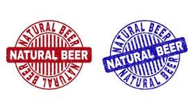 Grunge NATURAL BEER Textured Round Stamp Seals royalty free illustration