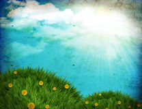 Grunge nature background with green grass. Vintage nature background with green grass and sun on old paper texture stock illustration
