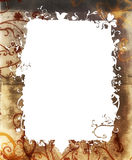 Grunge nature frame. Grunge texture frame with nature flowers and swirls Stock Image
