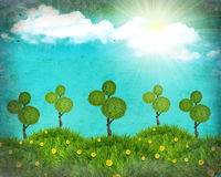 Grunge nature  landscape collage with trees Royalty Free Stock Photography