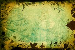 Grunge nature page. Grunge page with paper texture and floral borders with swirls, scrolls and nature elements Stock Image