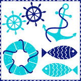 Grunge nautical elements Royalty Free Stock Photos