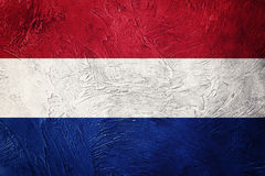 Grunge Nederland flag. Nederlands flag with grunge texture. Royalty Free Stock Photo