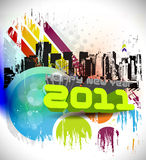 Grunge new year 2011 design Royalty Free Stock Images