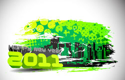 Grunge new year 2011 design. Abstract grunge urban city for new year 2011 colorful design.  Vector illustration Stock Image