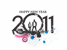 Grunge new year design. Grunge urban style new year 2011 in colorful background design. Vector illustration Stock Image