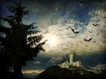 Grunge night scene with moonlight. Halloween scene in vintage style with full moon, castle ruins and bats Vector Illustration