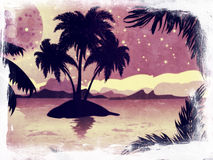 Grunge night tropic island Royalty Free Stock Image
