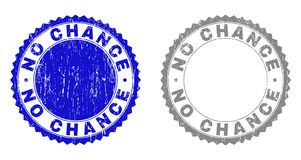 Grunge NO CHANCE Textured Stamp Seals. Grunge NO CHANCE stamp seals isolated on a white background. Rosette seals with grunge texture in blue and grey colors royalty free illustration