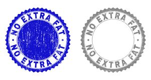 Grunge NO EXTRA FAT Textured Watermarks. Grunge NO EXTRA FAT stamp seals isolated on a white background. Rosette seals with grunge texture in blue and grey vector illustration