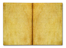 Grunge notebook. Grunge open notebook with lined pages isolated on white background Stock Photo